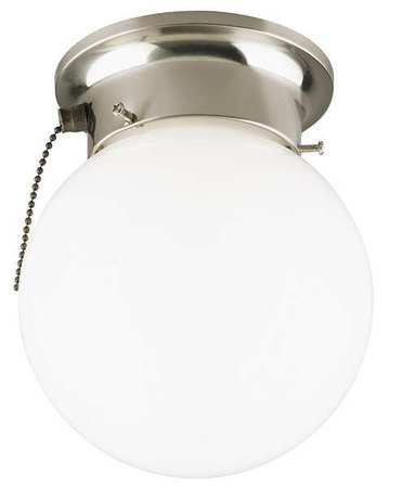 Light Fixture, Brushed Ni, 60W, Wh Glass