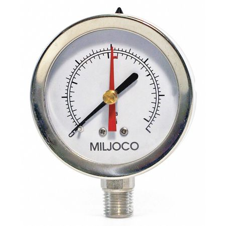 Pressure Gauge, 0 to 2000 psi, 2-1/2In