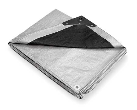 Tarp, Polyethylene, Silver/Black, 16x20Ft