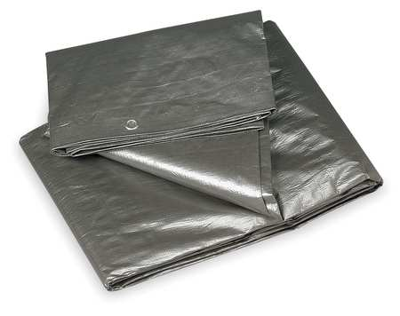 Tarp, Polyethylene, Silver/Black, 12x16Ft