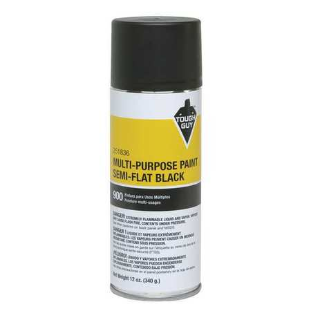 Spray Paint, Semi Flat Black, 12 oz.