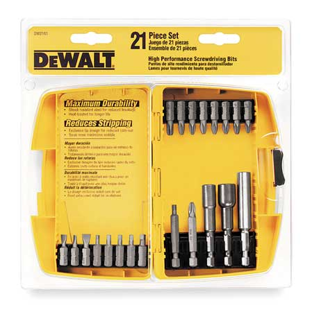 "Screwdriver Bit Set, 21 Pieces, 1/4"" Shank"