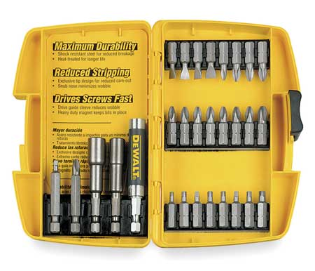 "Screwdriver Bit Set, 29 Pieces, 1/4"" Shank"