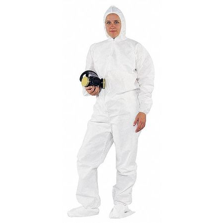 Hooded Disp. Coveralls, White, L, PK24