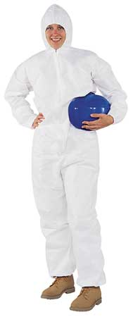 Hooded Disp. Coveralls, White, M, PK24
