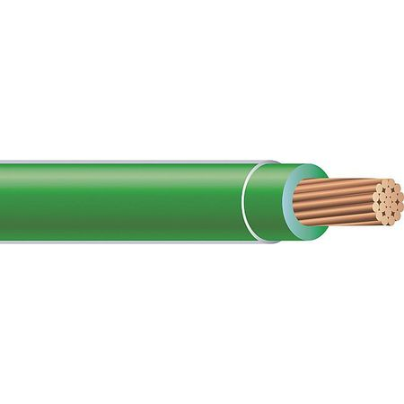 Building Wire, THHN, 6 AWG, Green, 500ft