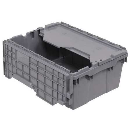 Attached Lid Container,  1.12 cu ft.,  Gray