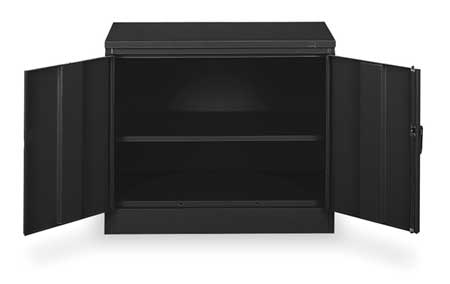 4W297 Desk Height Cabinet, Unassembled, Black