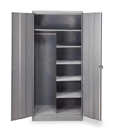 Combination Storage Cabinet, Medium Gray