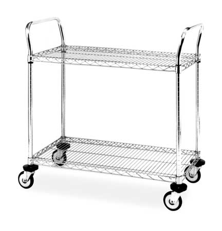 Wire Cart, 18 In. W, 48 In. L, Chrome