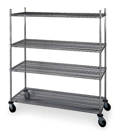 Wire Cart, 24 In. W, 60 In. L, Chrome