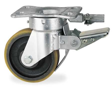 Kingpinless Plate Caster, Swivel, Poly, 12 in, 3080 lb