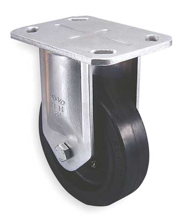 Plate Caster, Rigid, Rubber, 6 in., 815 lb, A