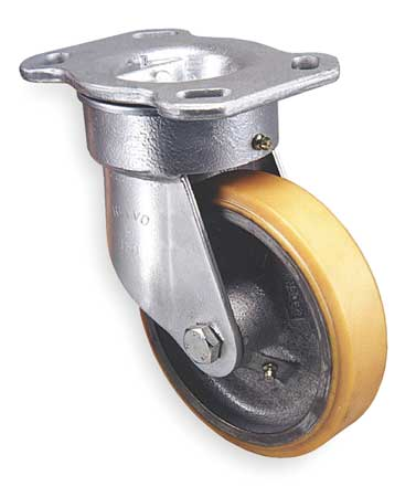 Kingpinless Plate Caster, Swivel, Poly, 4 in., 500 lb