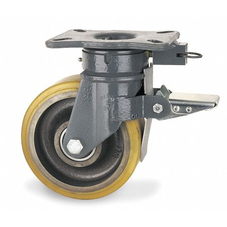 Kingpinless Plate Caster, Swivel, Poly, 8 in, 3960 lb.