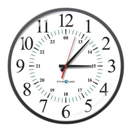 "17"" Analog Wireless Synchronized Wall Clock,  Black"