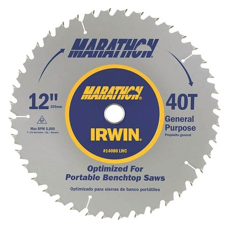 Circular Saw Blade, 12 In. Dia., 40T