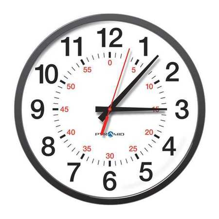 "13-1/4"" Analog Wireless Synchronized Wall Clock,  Black"