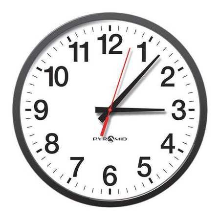 """13-1/4"""" Analog Wireless Synchronized Wall Clock,  Black"""