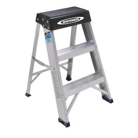 Werner 2 Steps Aluminum Step Stool 300 Lb Load Capacity