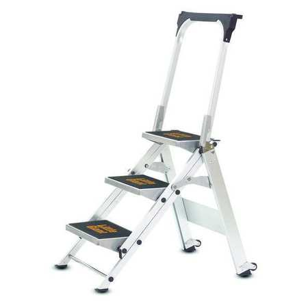 Safety Step Stool, Alum, 2-1/6ft H, 300 lb