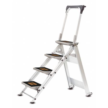 Safety Step Stool, Aluminum, 3ft H, 300 lb