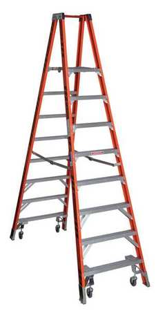 Twin Platform Stepladder,  8 ft.,  Fiberglass,  300 lb.