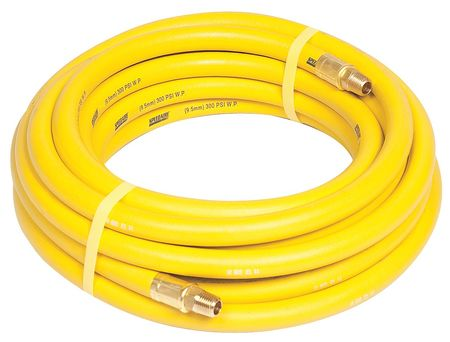 "3/8"" ID x 25 ft Nitrile Coupled Air Hose 300 PSI YL"
