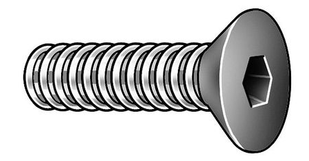 "#10-24 x 3/8"" Chrome Alloy Steel Flat Socket Head Cap Screw,  5 pk."