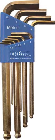 Ball End Hex Key Set, Pieces 9, M7