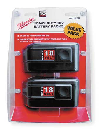 Battery Pack, 18V, 2.4Ah, NiCd, PK2