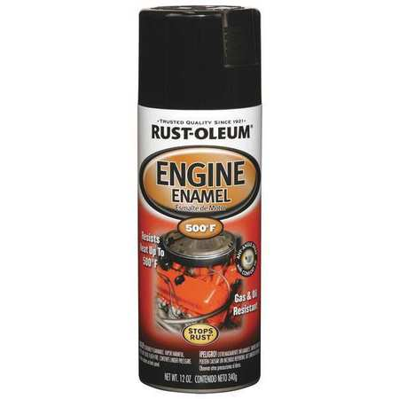 Engine Enamel, Gloss Black, 12 oz, Spray