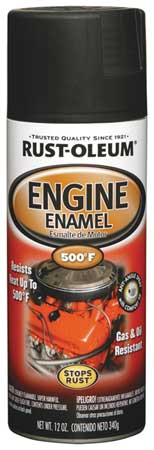 Engine Enamel, Semi-Gloss Blk, 12 oz, Spray
