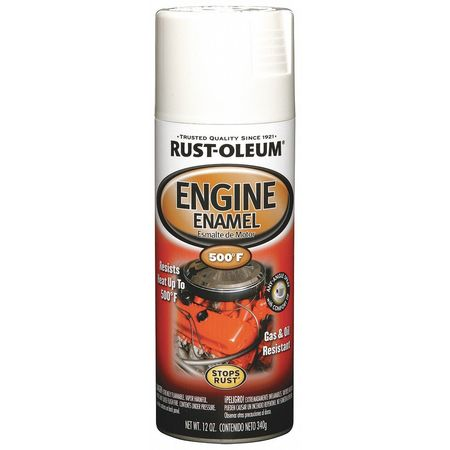 Engine Enamel, Universal Wht, 12 oz, Spray