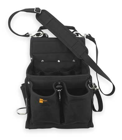 Electricians Tool Pouch w/ Shoulder Strap,  Black