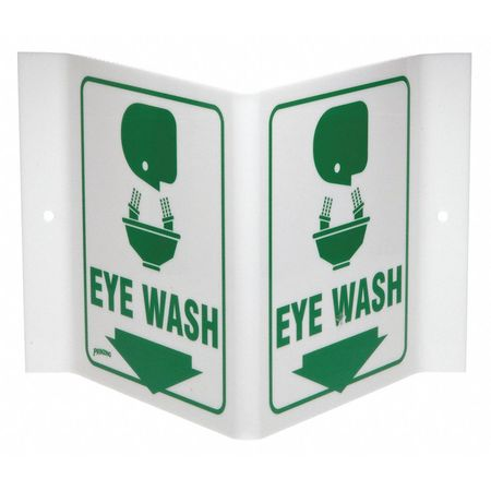 Eye Wash Sign, 6 x 9In, GRN/WHT, Eye Wash