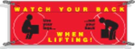Safety Banner, 42 x 120In, Vinyl, ENG