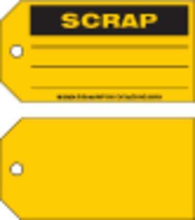 Scrap Tag, 3 x 5-3/4 In, Bk/Yel, Met, PK100