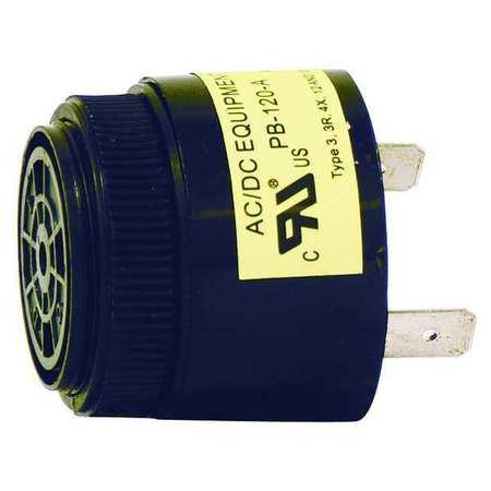Buzzer, 40 to 120VAC, 3 to 9mA AC, Black