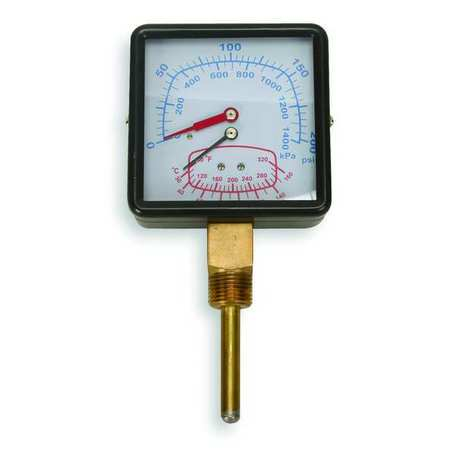 Boiler Gauge, Square, 0-200PSI, 80 to 320 F