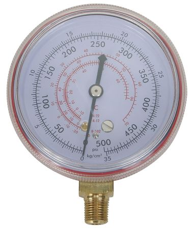 Gauge, 2-1/2 In Dia, High Side, Red, 500 psi