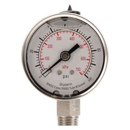Pressure Gauge, Liquid Filled, 2 In