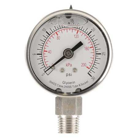 Standard Pressure Gauge Lower Connection,  Liquid Filled