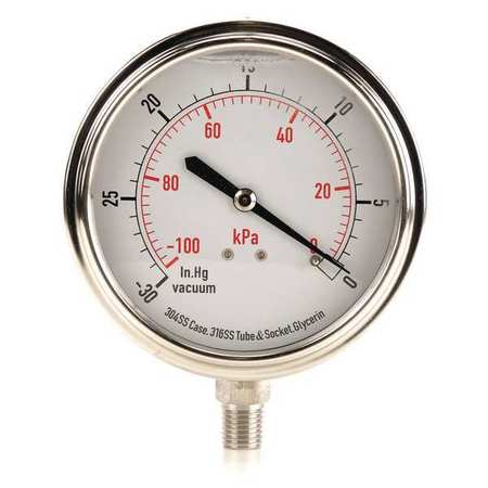 Vacuum Gauge, Liquid Filled, 3-1/2 In