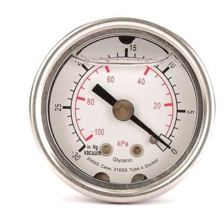 Vacuum Gauge, Liquid Filled, 1-1/2 In