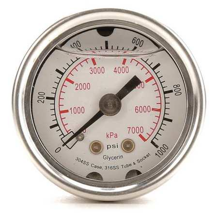 Pressure Gauge, Liquid Filled, 1-1/2 In