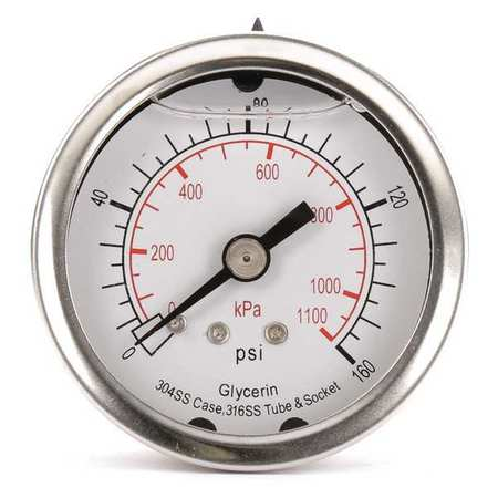 Standard Pressure Gauge Back Connection,  Liquid Filled