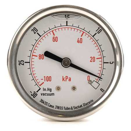 Vacuum Gauge, Liquid Filled, 2-1/2 In