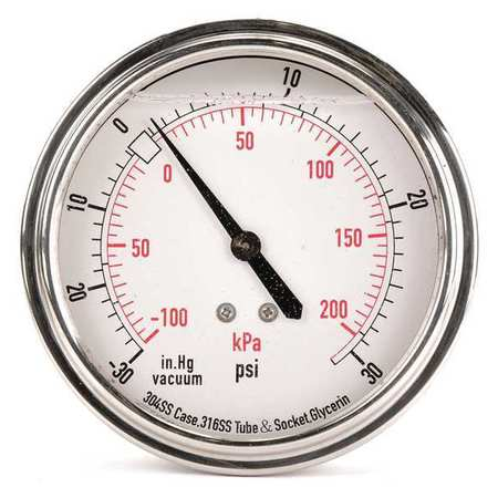 Compound Gauge, Liquid Filled, 3-1/2 In