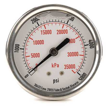 Pressure Gauge, Liquid Filled, 2-1/2 In